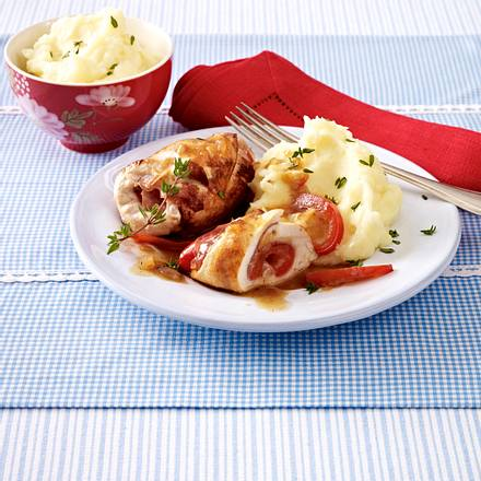 Hähnchenrouladen mit Schinkenfüllung und Kartoffelpüree Rezept