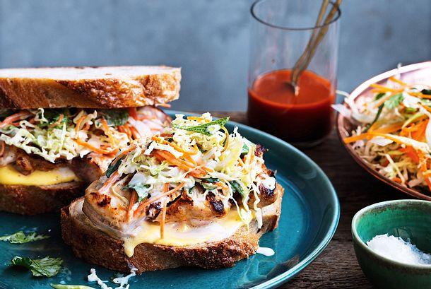 Hähnchen-Sandwiches mit schlankem Coleslaw Rezept
