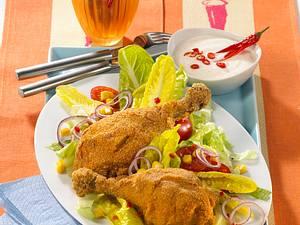 Hähnchenschenkel in Chili-Polenta-Panade mit Salat Rezept