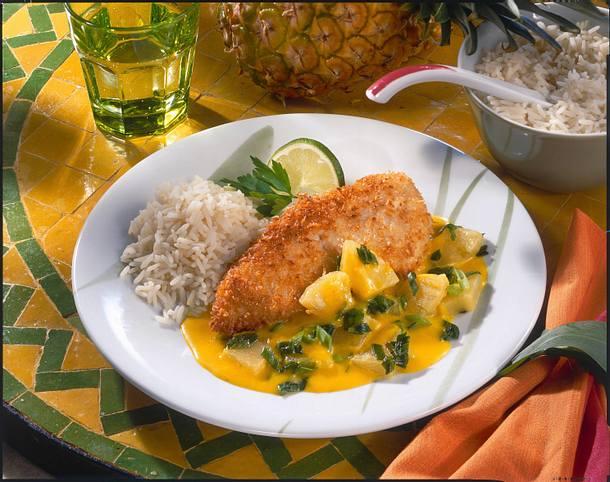 Hähnchenschnitzel mit Curry-Bananensoße Rezept