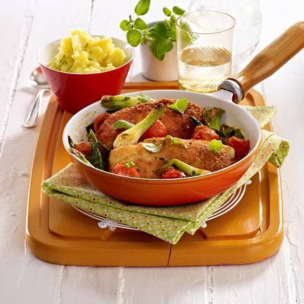 Rezepte Pur De hähnchenschnitzel mit sommergemüse und püree titel rezepte pur