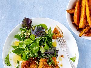 Hähnchenschnitzel mit Süßkartoffelspalten Rezept