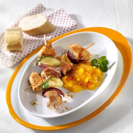 Hähnchenspieße mit Mango-Chutney Rezept