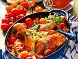 Hähnchenteile mit Kirschtomaten und Lauchzwiebeln Rezept