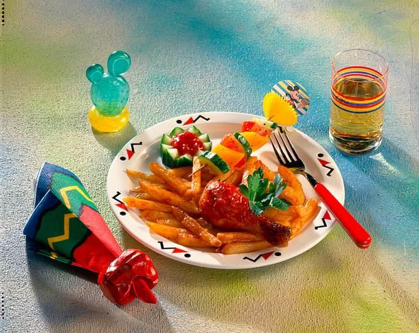 Hähnchenunterkeulen mit Pommes Frites und Bohnen-Mais-Gemüse Rezept