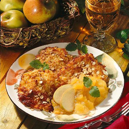 Hafer-Kartoffelpuffer mit Apfelkompott Rezept