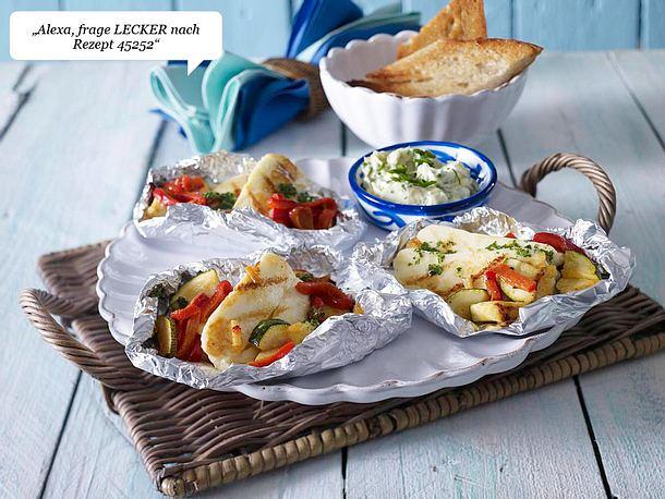 Halloumi-Päckchen mit gerösteter Paprika, Zucchini und Käuterbutter Rezept