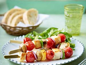Halloumi-Pilz-Tomaten-Spieße Rezept