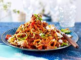 Happy-Harissa-Bolognese mit Gemüsenudeln Rezept