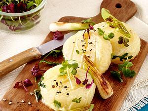 Harzer Käse mit gebratenen Lauchzwiebel Rezept