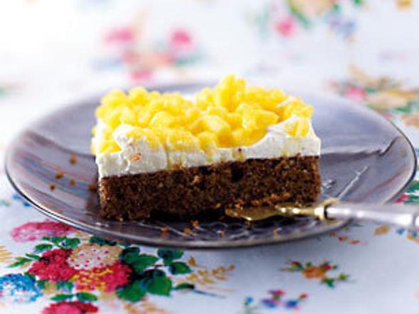Haselnuss-Schoko-Kuchen mit Mango-Topping Rezept