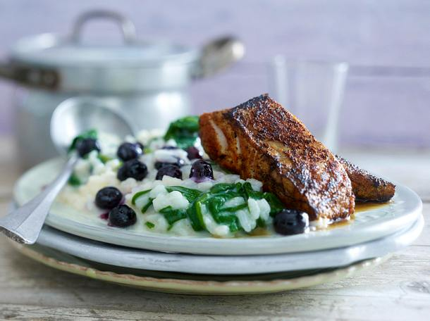 Heidelbeer Risotto Mit Blackened Fish Rezept Lecker
