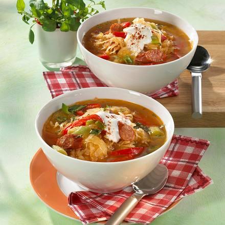Herzhafte Sauerkraut-Suppe (für 2 Personen) Rezept
