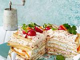 Herzhafter Pfannkuchen-Turm Rezept