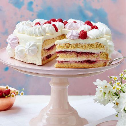 Himbeer Mascarpone Torte Mit Baisertuffs Rezept Lecker