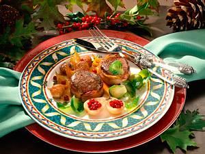 Hirsch- oder Damwildrückensteaks mit karamellisierten Maronen Rezept