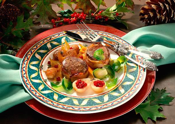 Hirschsteaks mit Zwiebeln & Maronen Rezept