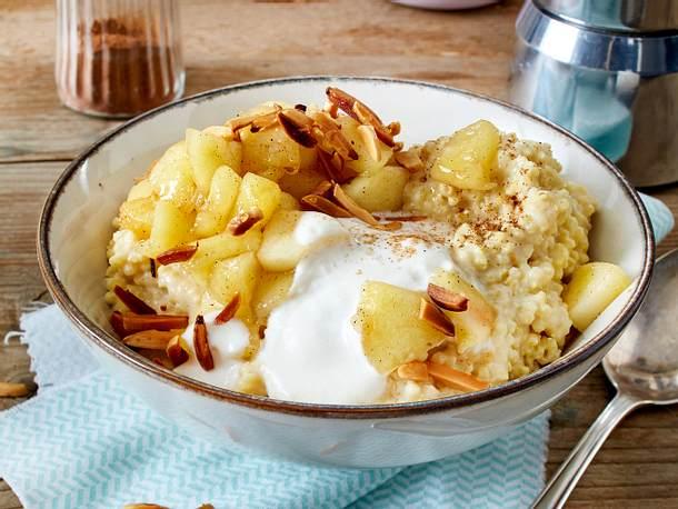 Hirse-Frühstück mit Apfel-Zimt-Kompott Rezept