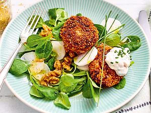 Hirsebratlinge mit Feldsalat und Rettich Rezept