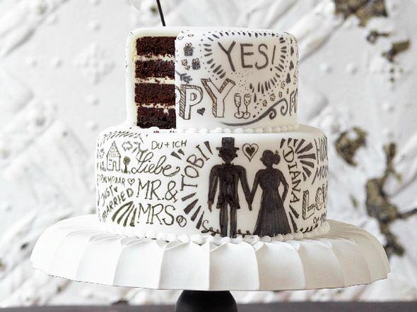 Hochzeitstorte Schwarz Weiß Ohne Fondant