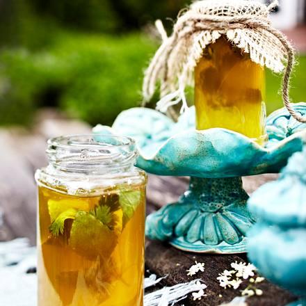 Holunderblüten-Gelee mit Thai-Basilikum und Koriander Rezept