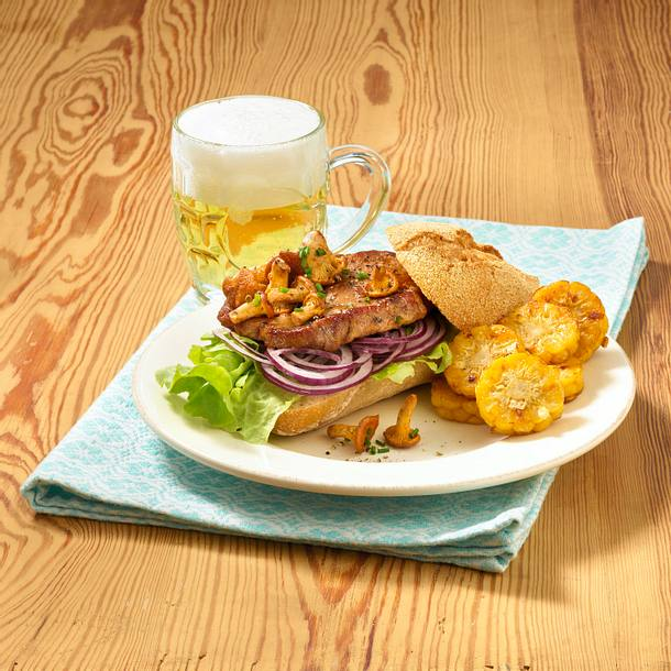 Holzfäller-Burger mit Maisrädchen Rezept