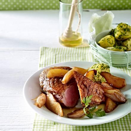 Honig-Ente mit Quitten-Zwiebel-Gemüse Rezept