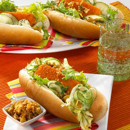 Hot Dog mit Fischstäbchen Rezept