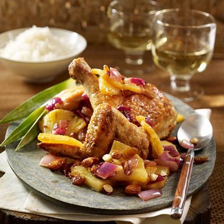 Hühner Potjie Brathähnchen mit Ananas und Sultaninen Rezept