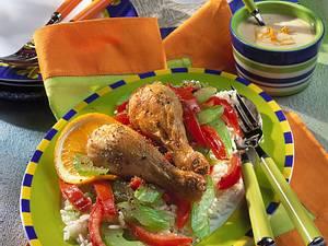 Hühnerkeulen mit Tomaten-Selleriegemüse Rezept