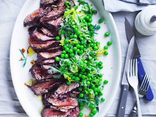 Huftsteak mit Erbsen-Estragon-Gemüse Rezept