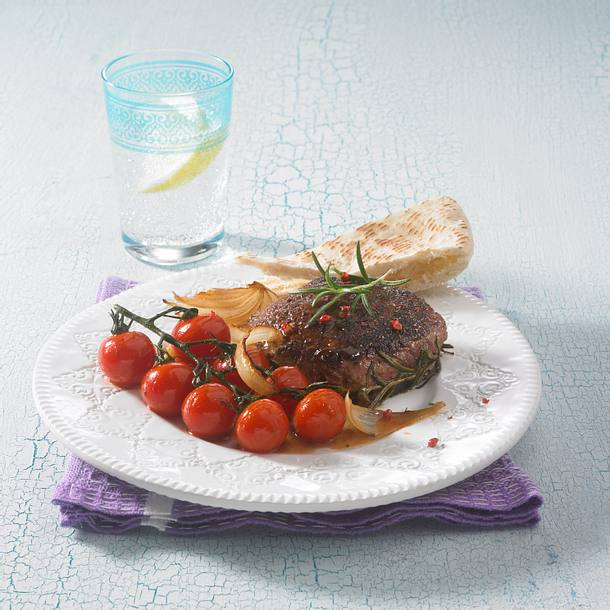 Huftsteak mit geschmorten Tomaten (Diät) Rezept