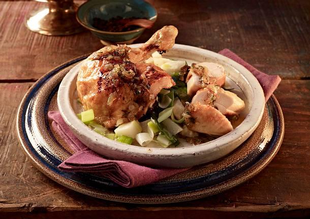 Huhn auf parthische Art mit Sellerie-Porree-Gemüse Rezept