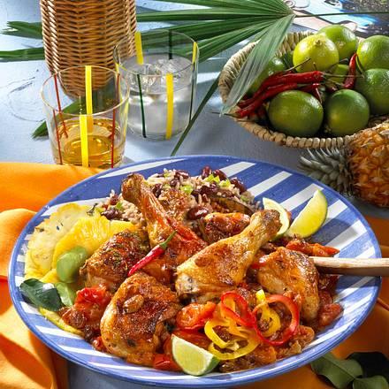 Huhn mit Ananas und Bohnen-Reis Rezept