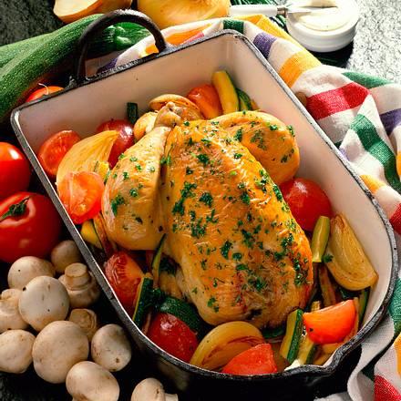 Huhn mit Kräuter-Champignon-Füllung Rezept