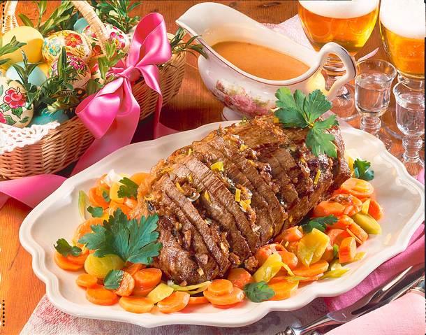 Husarenbraten mit Porree-Möhren-Gemüse Rezept