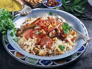 Indische Reisplatte mit Würstchen Rezept