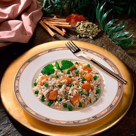 Indischer Reis mit Putensteak Rezept