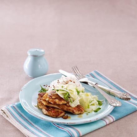 Ingwer-Schnitzel auf Fenchel-Lauchzwiebelgemüse Rezept