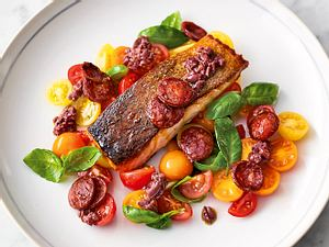 Jamies' Gebratener Lachs mit Chorizo Rezept