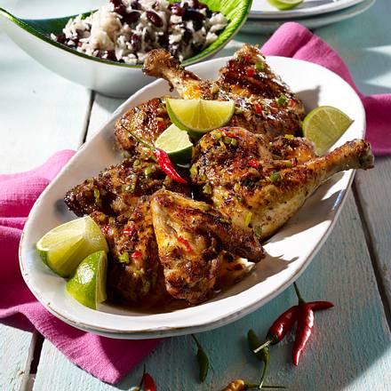 Jerk Chicken mit Reis und Bohnen Rezept