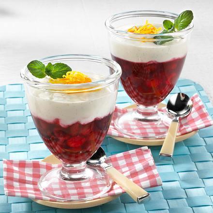 Joghurt Panna Cotta auf Sauerkirschgrütze Rezept