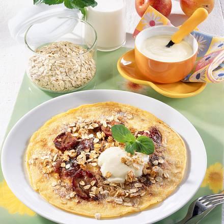 Joghurt-Pfannkuchen mit Pflaumen Rezept