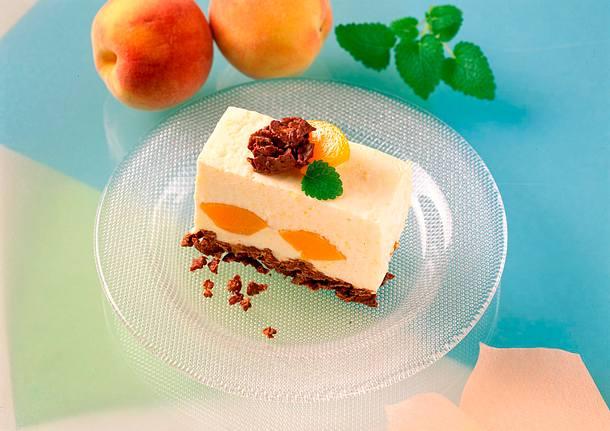 Joghurt-Pfirsich-Schnitte mit Schokoladenkrossiboden Rezept