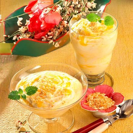 Joghurt-Pfirsichcreme mit Kokos Rezept