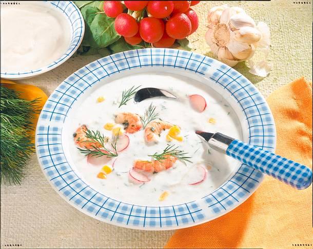 Joghurtkaltschale mit Shrimps Rezept
