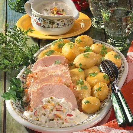 Junge Kartoffeln mit Putensauerfleisch Rezept