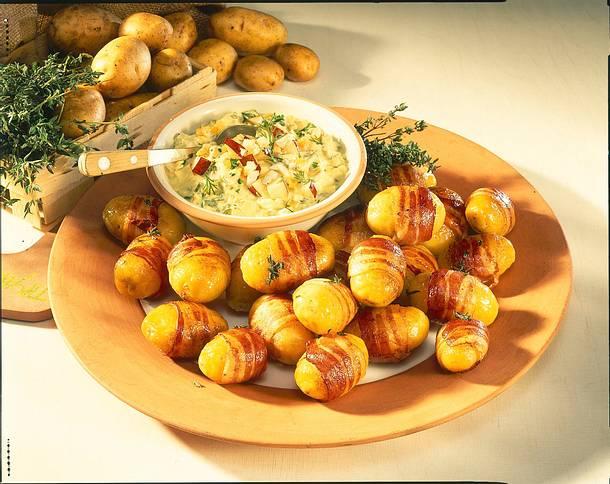 Junge Speckkartöffelchen mit Apfel-Quark-Remoulade Rezept