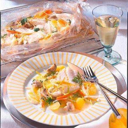 Kabeljau auf Julienne-Gemüse in Folie Rezept
