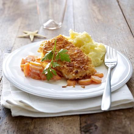 Kabeljau in Cornflakes mit Rahmmöhrchen Rezept